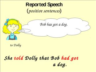 She told Dolly that Bob had got a dog. Reported Speech (positive sentences)