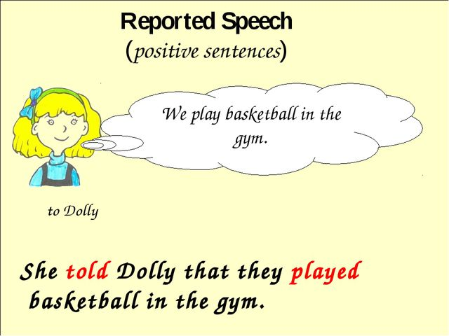 She told Dolly that they played basketball in the gym. Reported Speech (posi...
