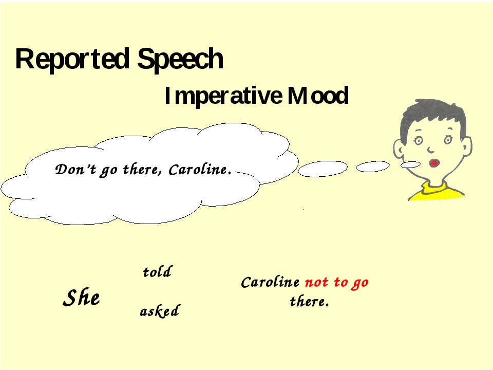 Reported Speech Imperative Mood Don't go there, Caroline. told asked Carolin...