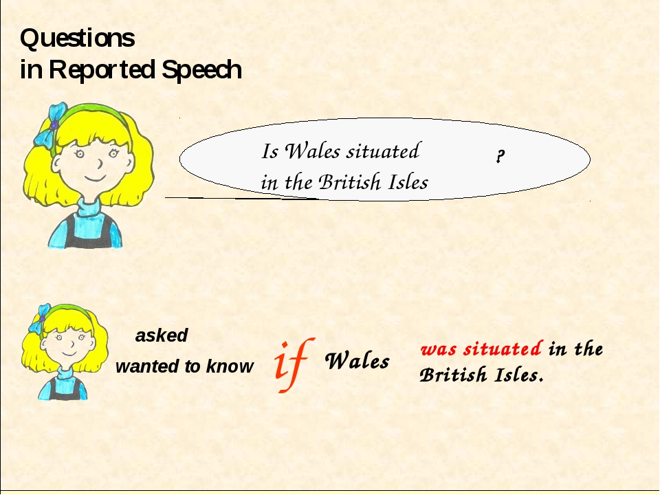 Questions in Reported Speech if asked wanted to know ? Wales Is Wales situate...