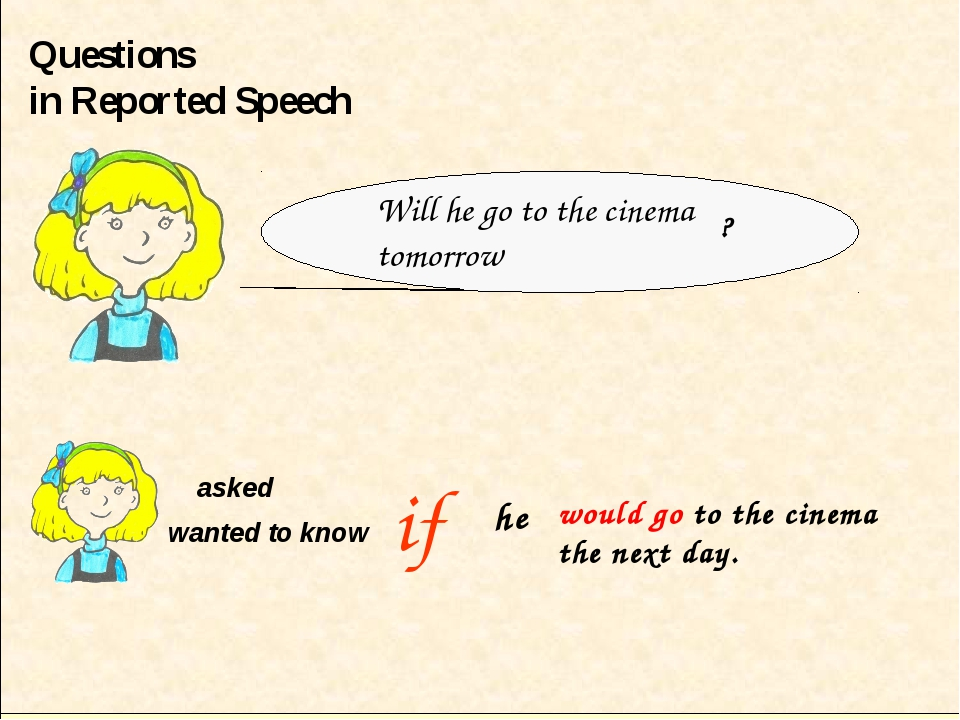 Questions in Reported Speech if asked wanted to know ? he Will he go to the c...