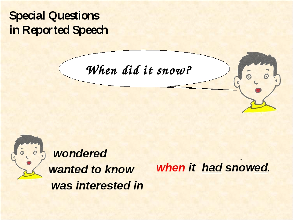 Special Questions in Reported Speech wondered wanted to know when it had snow...