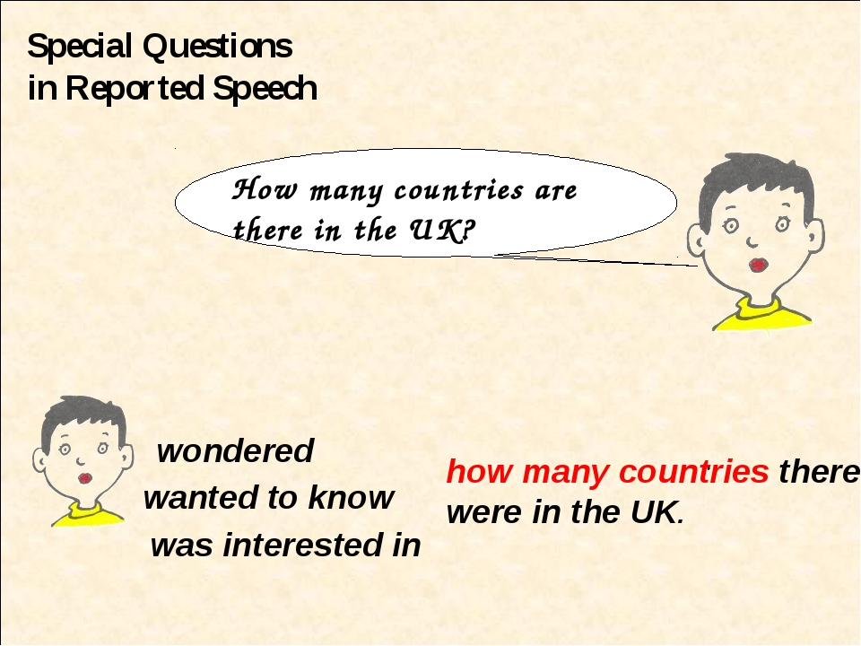 Special Questions in Reported Speech wondered wanted to know how many countri...