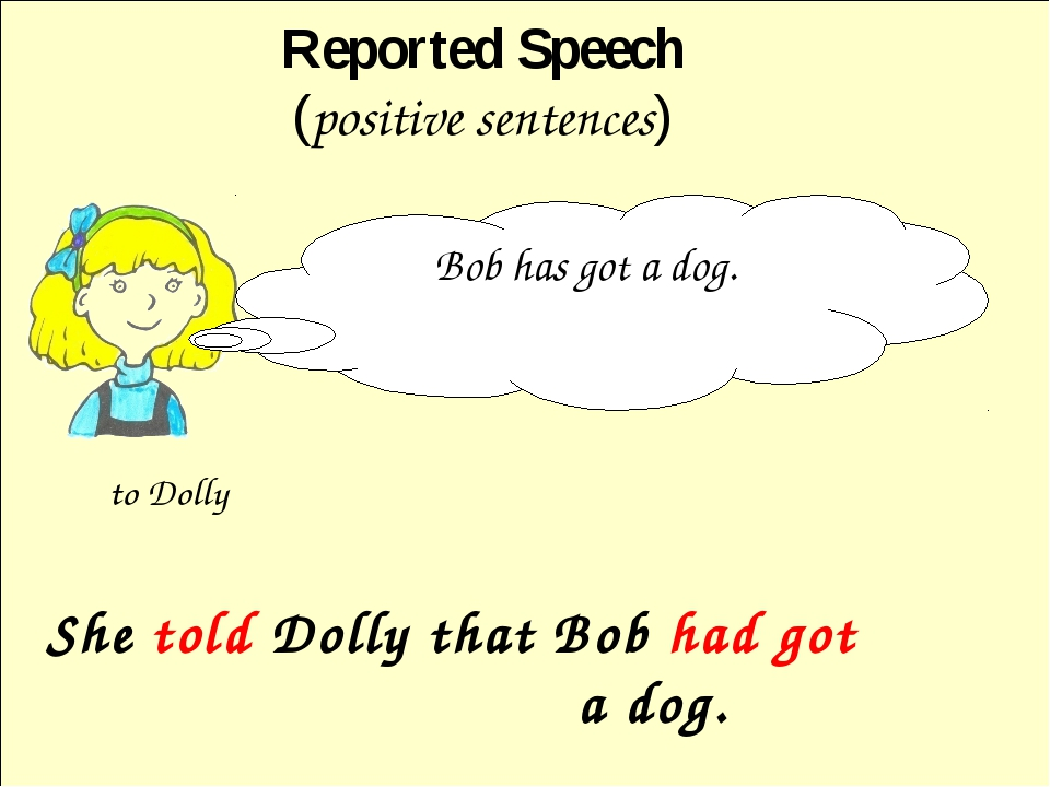 She told Dolly that Bob had got a dog. Reported Speech (positive sentences)...