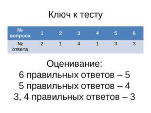 Ключ к тесту Оценивание: 6 правильных ответов – 5 5 правильных ответов – 4 3,