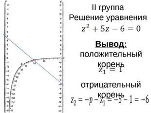 II группа Решение уравнения Вывод: положительный корень отрицательный корень