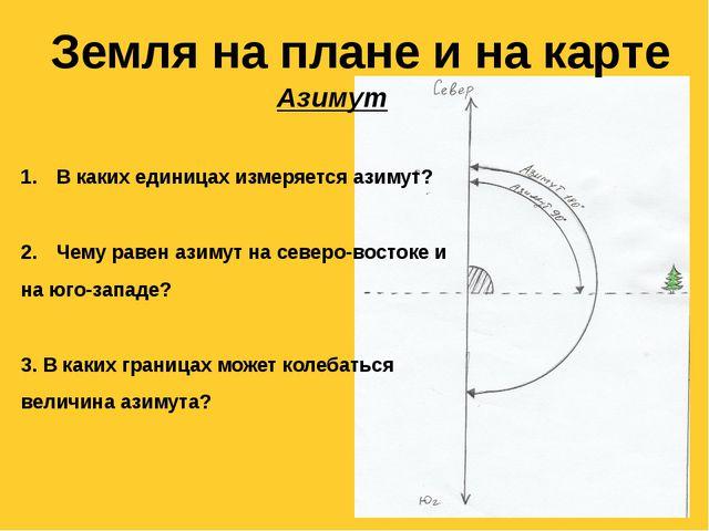 Земля на плане и на карте Азимут В каких единицах измеряется азимут? Чему рав...