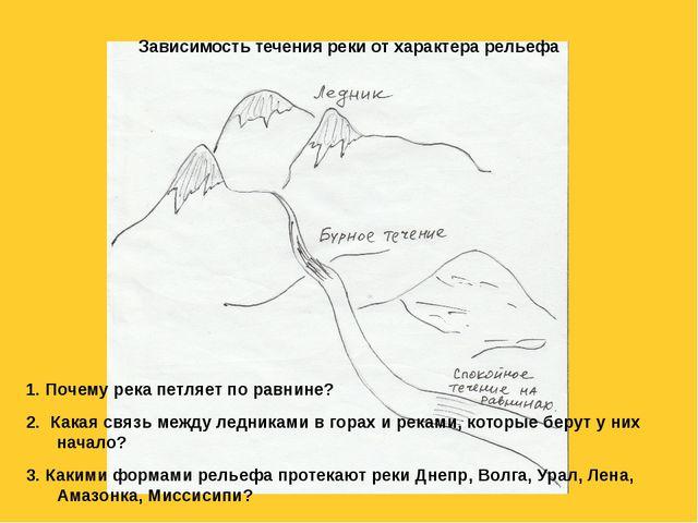 Зависимость течения реки от характера рельефа 1. Почему река петляет по равни...