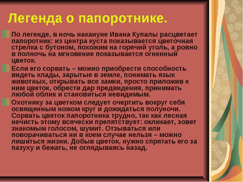 Легенда о папоротнике. По легенде, в ночь накануне Ивана Купалы расцветает па...