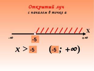 Открытый луч с началом в точке а -∞ +∞ а х > a (а ; +∞) -5 Х -5 -5