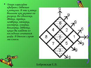Теперь нарисуйте квадрат с девятью клетками. В эти клетки впишите как указано
