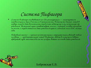 Система Пифагора Система Пифагора основывается на идее реинкарнации — многокр