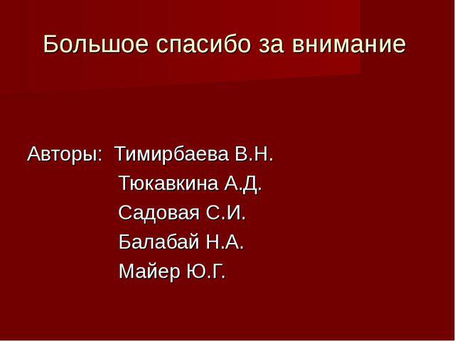Большое спасибо за внимание Авторы: Тимирбаева В.Н. Тюкавкина А.Д. Садо...