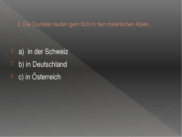 2.Die Touristen laufen gern Schi in den malerischen Alpen.... a)in der Schw...