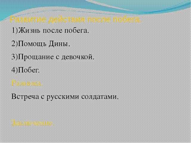 Развитие действия после побега. 1)Жизнь после побега. 2)Помощь Дины. 3)Прощан...