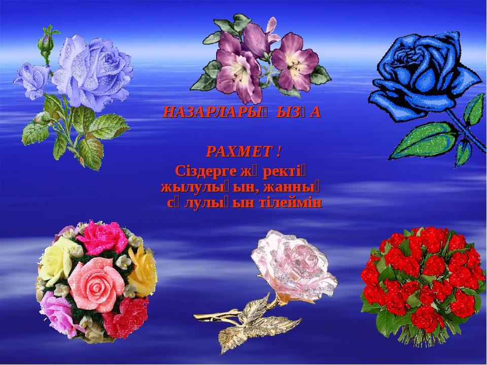 НАЗАРЛАРЫҢЫЗҒА РАХМЕТ ! Сіздерге жүректің жылулығын, жанның сұлулығын тілеймін