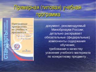 Примерная (типовая) учебная программа документ, рекомендуемый Минобрнауки Рос