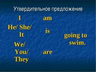 Утвердительное предложение Iamgoing to swim. He/ She/ Itis We/ You/ They