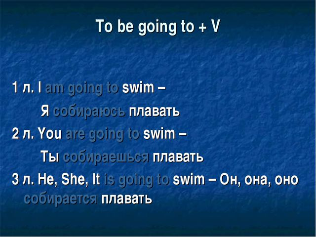 To be going to + V 1 л. I am going to swim – Я собираюсь плавать 2 л. You are...