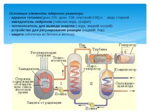 Основные элементы ядерного реактора: - ядерное топливо(уран-235, уран- 238,