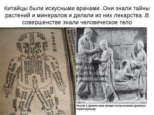 Китайцы были искусными врачами .Они знали тайны растений и минералов и делали