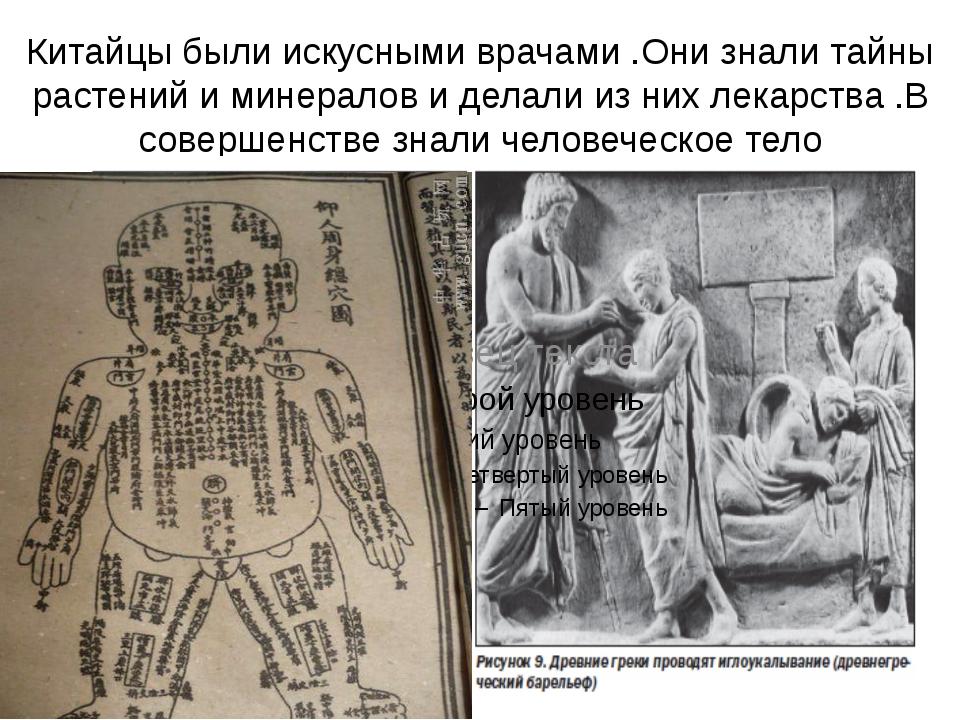 Китайцы были искусными врачами .Они знали тайны растений и минералов и делали...