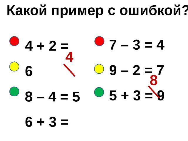 Какой пример с ошибкой? 4 + 2 = 6 8 – 4 = 5 6 + 3 = 9 4 8 7 – 3 = 4 9 – 2 = 7...