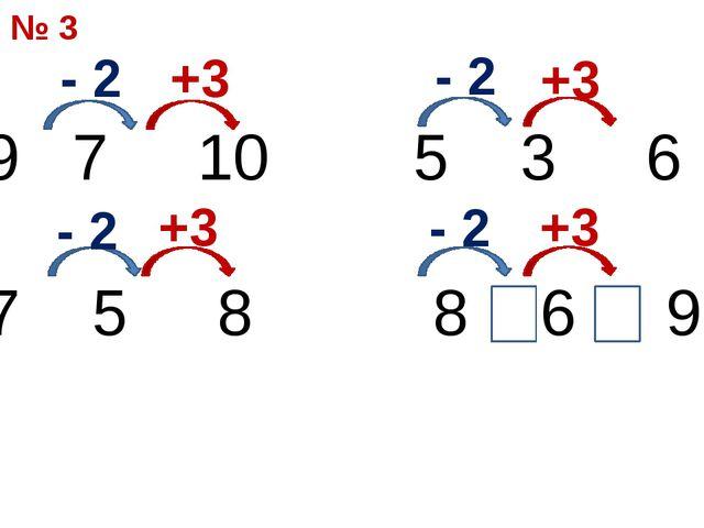 7 10 5 3 6 7 5 8 8 6 9 - 2 +3 - 2 - 2 - 2 +3 +3 +3 № 3
