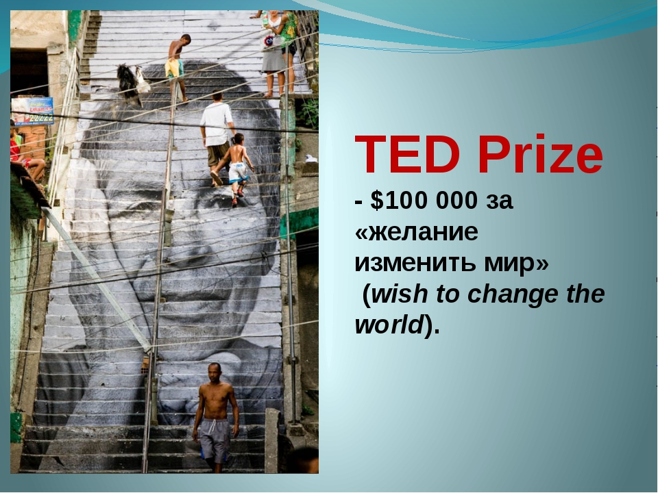 TED Prize - $100 000 за «желание изменить мир» (wish to change the world).