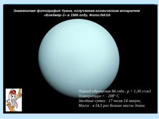 Знаменитая фотография Урана, полученная космическим аппаратом «Вояджер-2» в 1