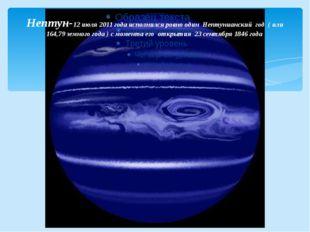Нептун-12 июля2011 годаисполнился ровно один Нептунианский год ( или 164,7
