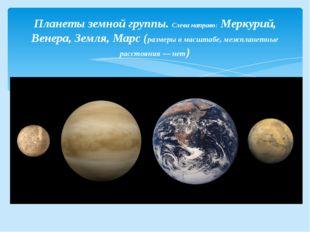 Планеты земной группы. Слева направо:Меркурий, Венера, Земля, Марс(размеры