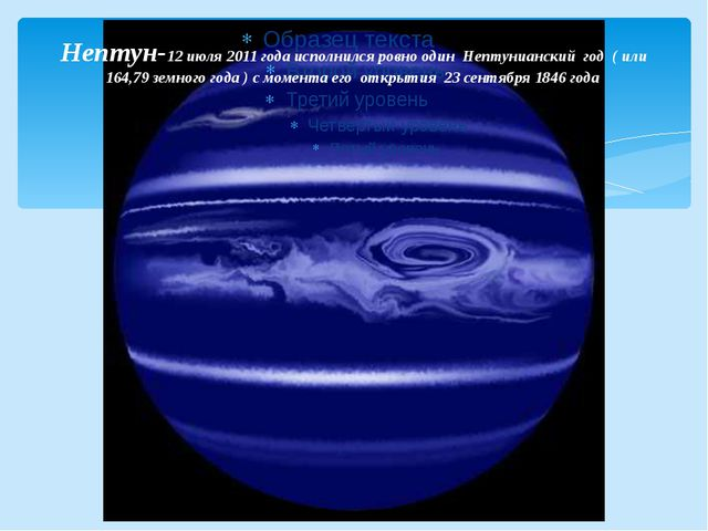 Нептун-12 июля2011 годаисполнился ровно один Нептунианский год ( или 164,7...