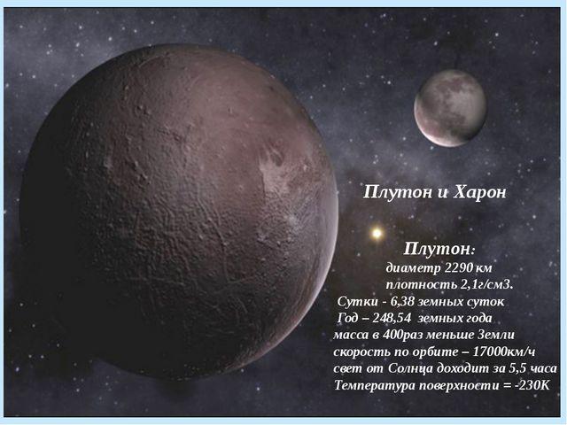 Плутон и Харон Плутон: диаметр 2290 км плотность 2,1г/см3. Сутки - 6,38 земн...