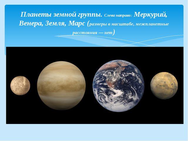Планеты земной группы. Слева направо:Меркурий, Венера, Земля, Марс(размеры...