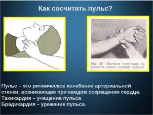 Как сосчитать пульс? Пульс – это ритмическое колебание артериальной стенки,