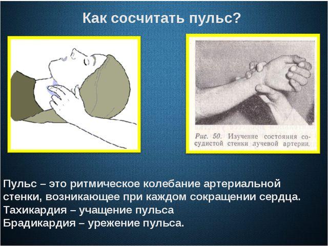 Как сосчитать пульс? Пульс – это ритмическое колебание артериальной стенки,...