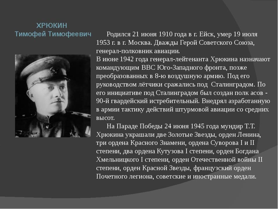 Родился 21 июня 1910 года в г. Ейск, умер 19 июля 1953 г. в г. Москва. Дважд...