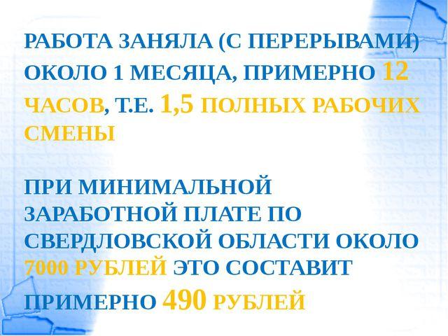 РАБОТА ЗАНЯЛА (С ПЕРЕРЫВАМИ) ОКОЛО 1 МЕСЯЦА, ПРИМЕРНО 12 ЧАСОВ, Т.Е. 1,5 ПОЛН...