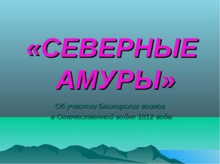 «СЕВЕРНЫЕ АМУРЫ» Об участии башкирских воинов в Отечественной войне 1812 года