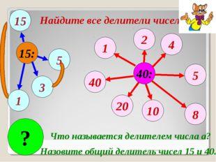 15: 40: 1 1 3 5 15 2 4 5 8 10 20 40 ? Что называется делителем числа а? Назов
