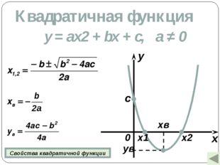 Квадратичная функция y = ax2 + bx + c, а ≠ 0 x y 0 c x1 x2 xв ув Свойства ква