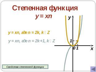 Степенная функция y = xn x y 0 y = xn, где n = 2k, k  Z y = xn, где n = 2k +