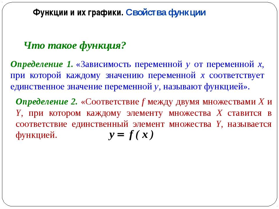 Что такое функция? Определение 1.«Зависимость переменной y от переменной x,...