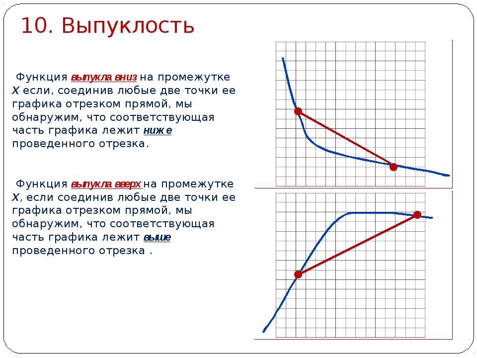 10. Выпуклость Функция выпукла вниз на промежутке Х если, соединив любые две...