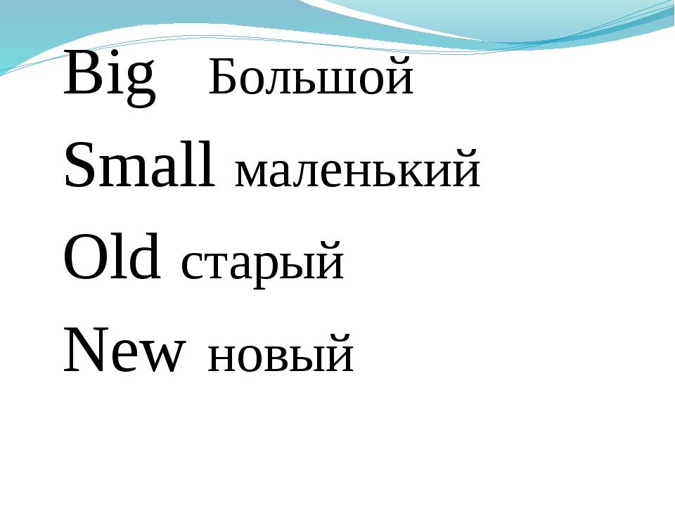 Big Большой Small маленький Old старый New новый