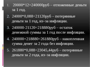 20000*12=240000руб – отложенные деньги за 1 год. 24000*0,088=21120руб – поте