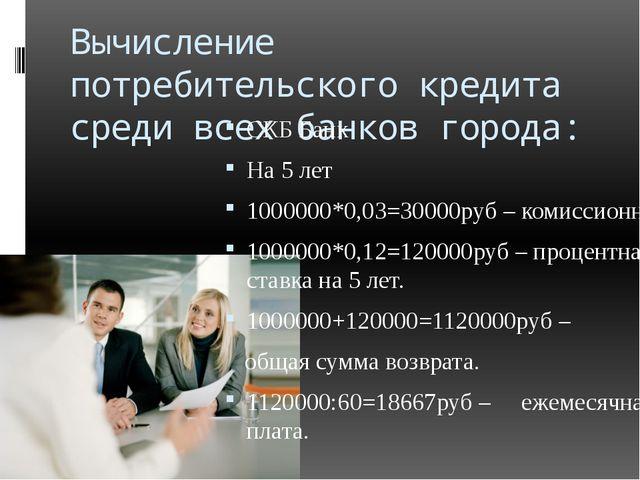 Вычисление потребительского кредита среди всех банков города: СКБ Банк На 5 л...