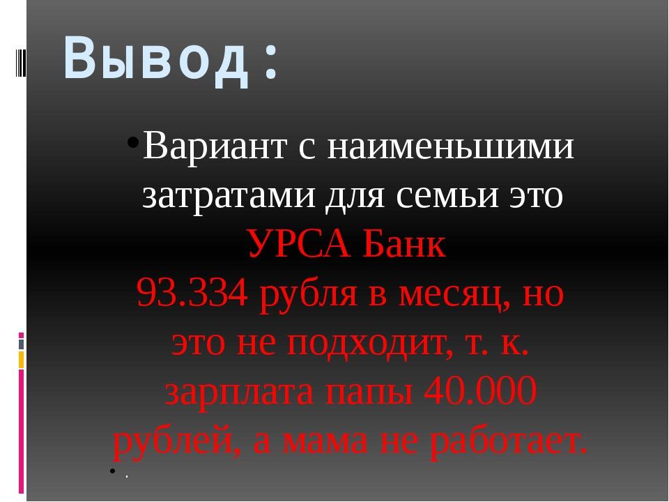 Вывод: Вариант с наименьшими затратами для семьи это УРСА Банк 93.334 рубля в...