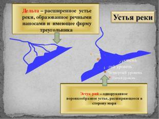 Дельта – расширенное устье реки, образованное речными наносами и имеющее форм